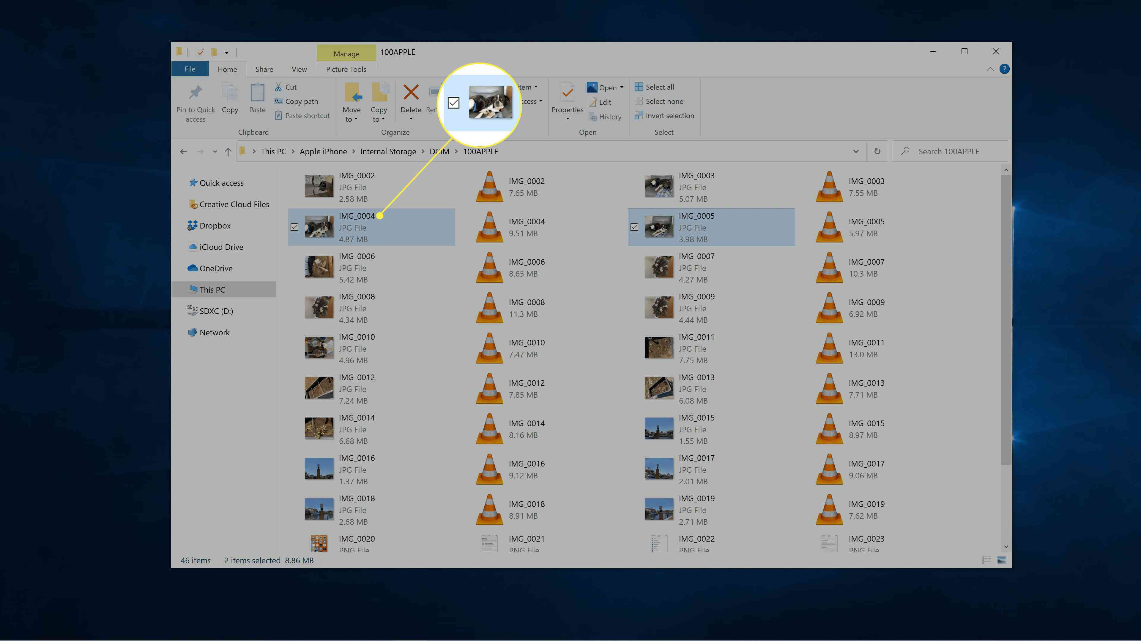 Files selected from iPhone internal storage on Windows.