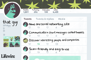 Illustration of a Twitter page with information about the service in the feed