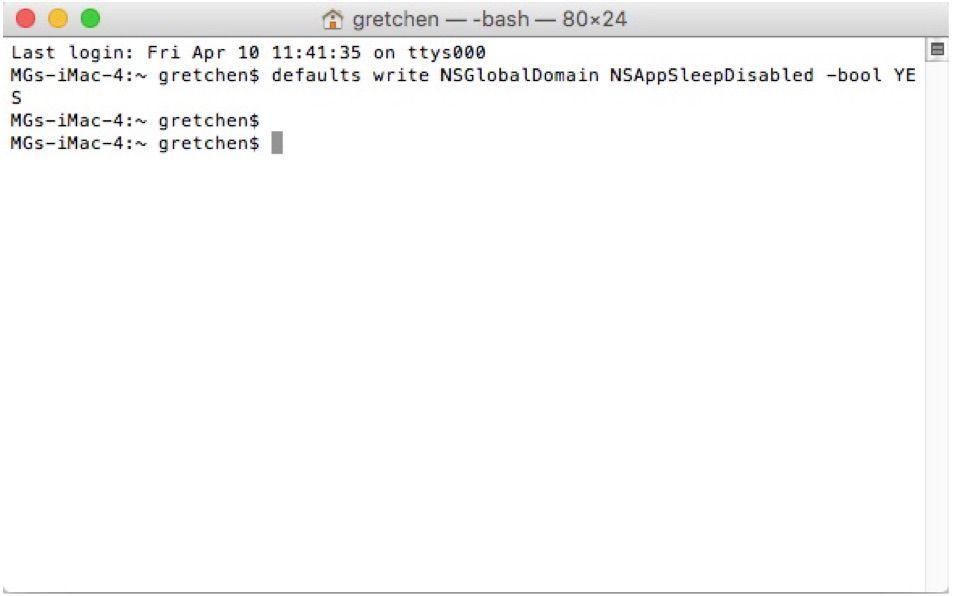 Disabling App Nap via a Terminal command