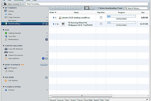 Screenshot of the Vuze torrent client in Windows 7