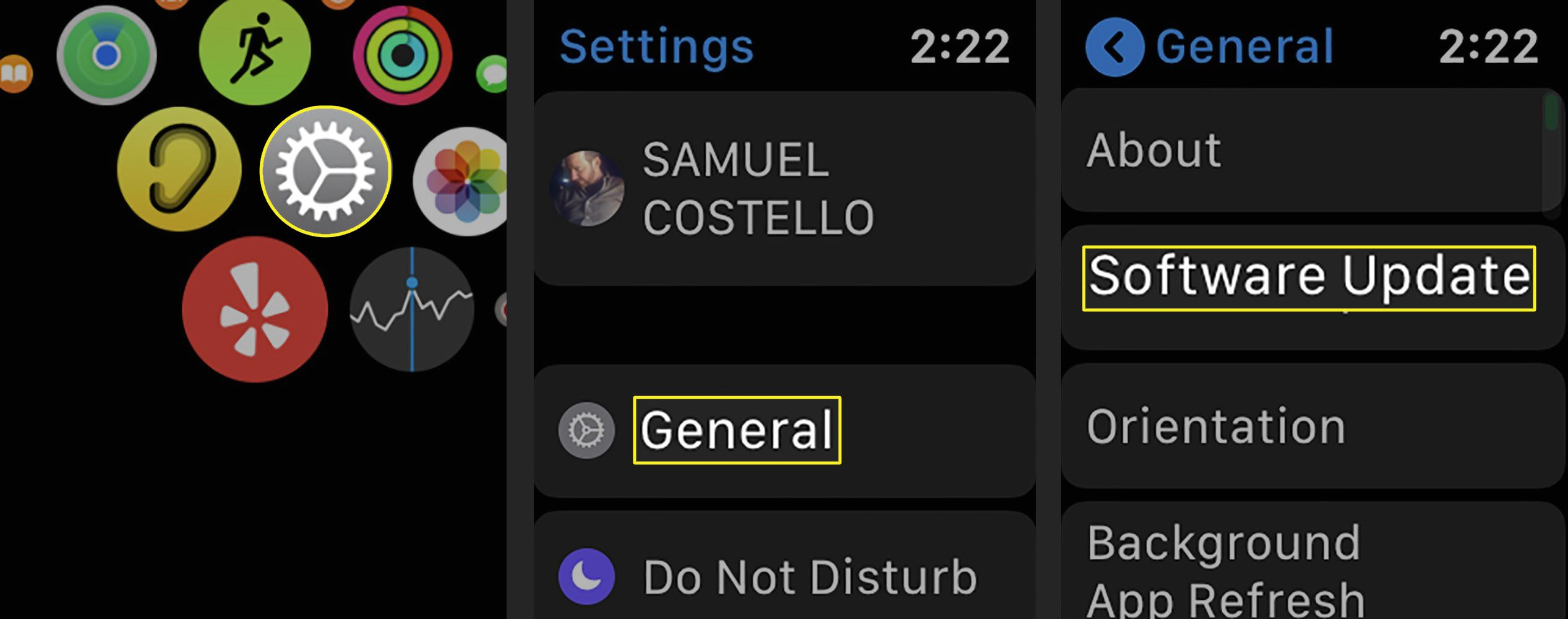 Screenshots of updating software on Apple Watch