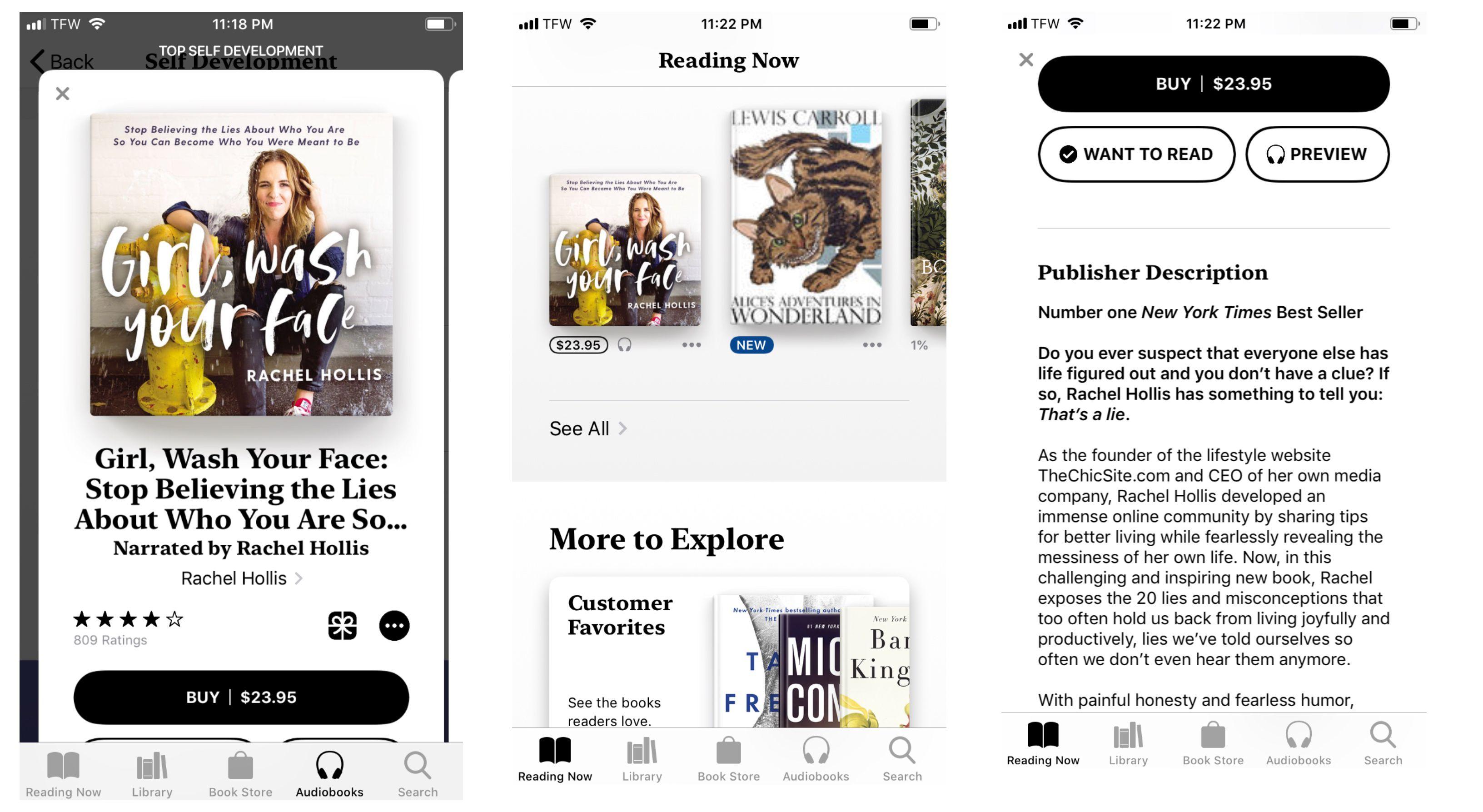 Screenshot of audiobook home screen on iPhone