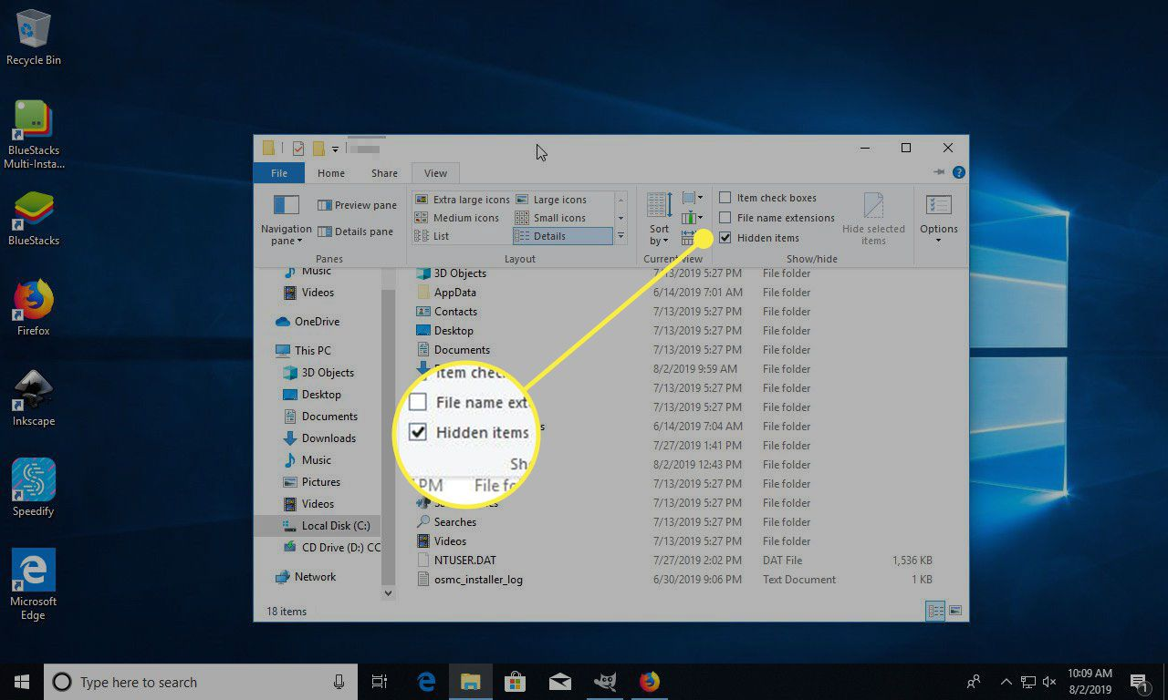A screenshot of a User folder in Windows with the Hidden Items option under the View menu highlighted
