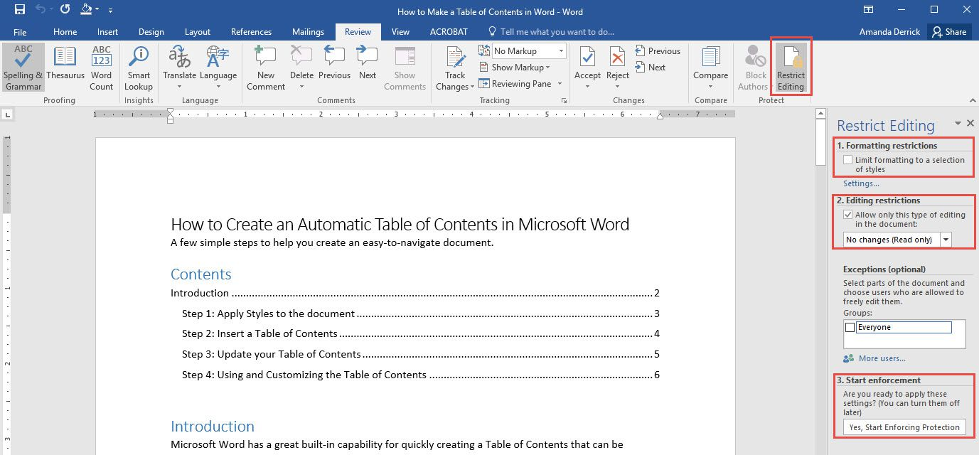microsoft word 2010 lock document from editing
