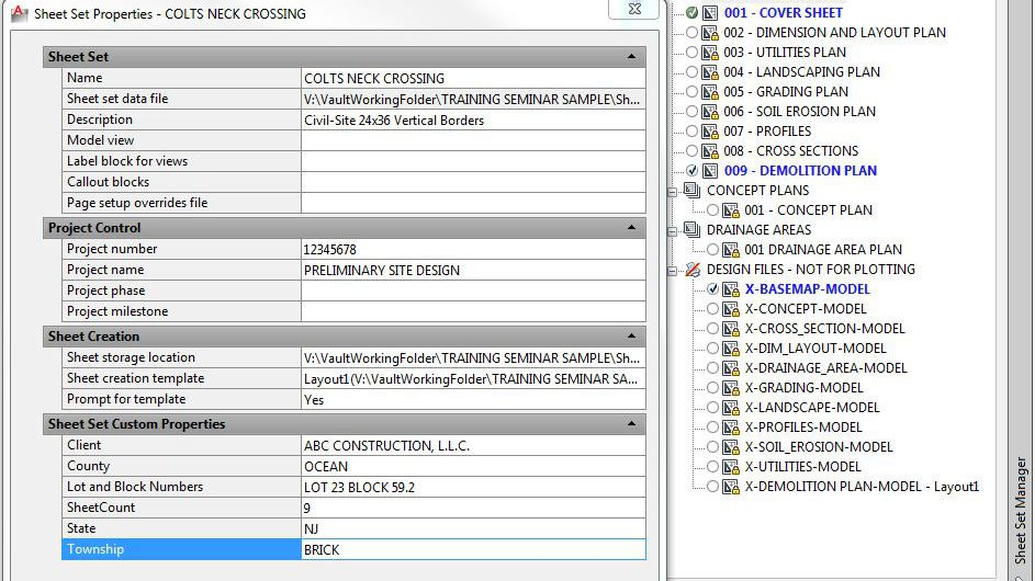 Working with AutoCAD Sheet Set Manager