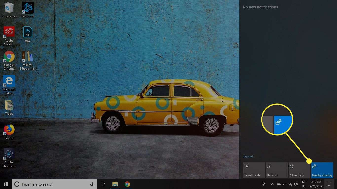 The Nearby Sharing command in Windows 10