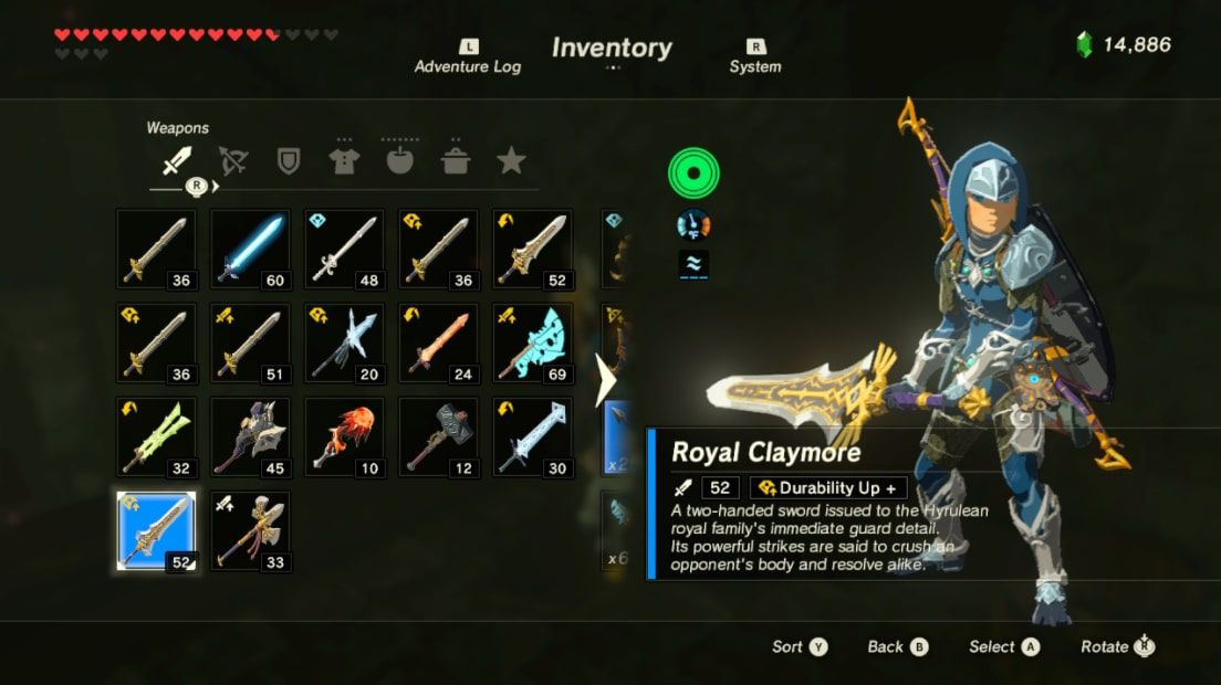 Link wields the Royal Claymore in Zelda BOTW