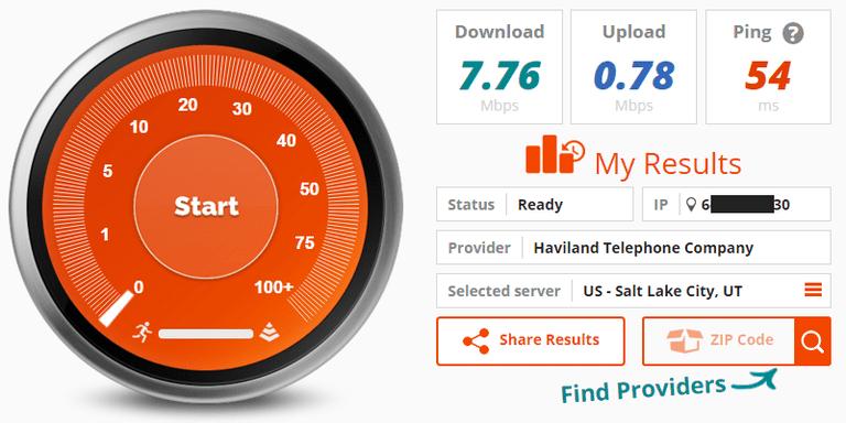 Screenshot of a Bandwidth Place Internet speed test result