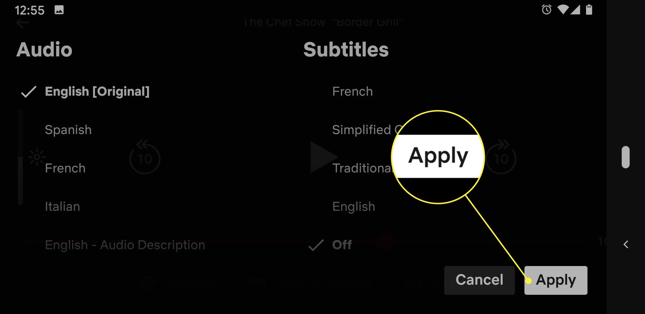 A screenshot of the Audio & Subtitles settings on Netflix with the Apply button highlighted