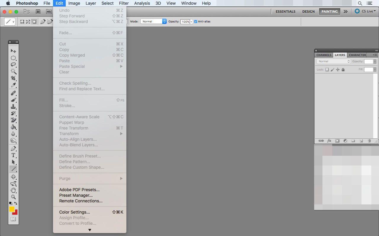 The Edit menu in Photoshop