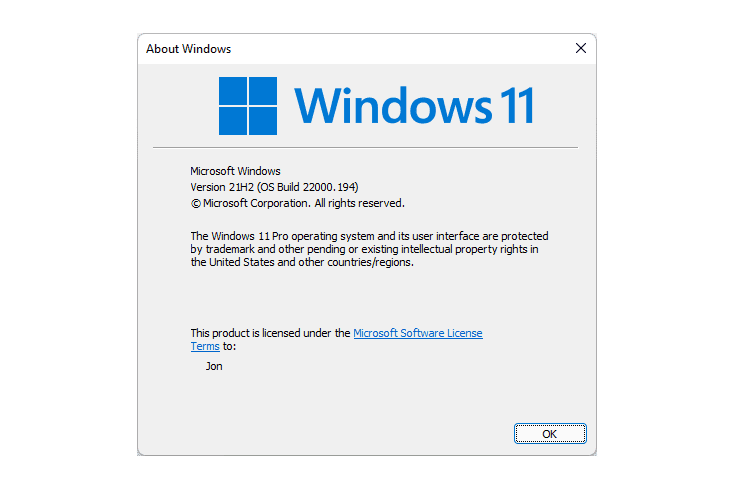 About Windows 11 screen