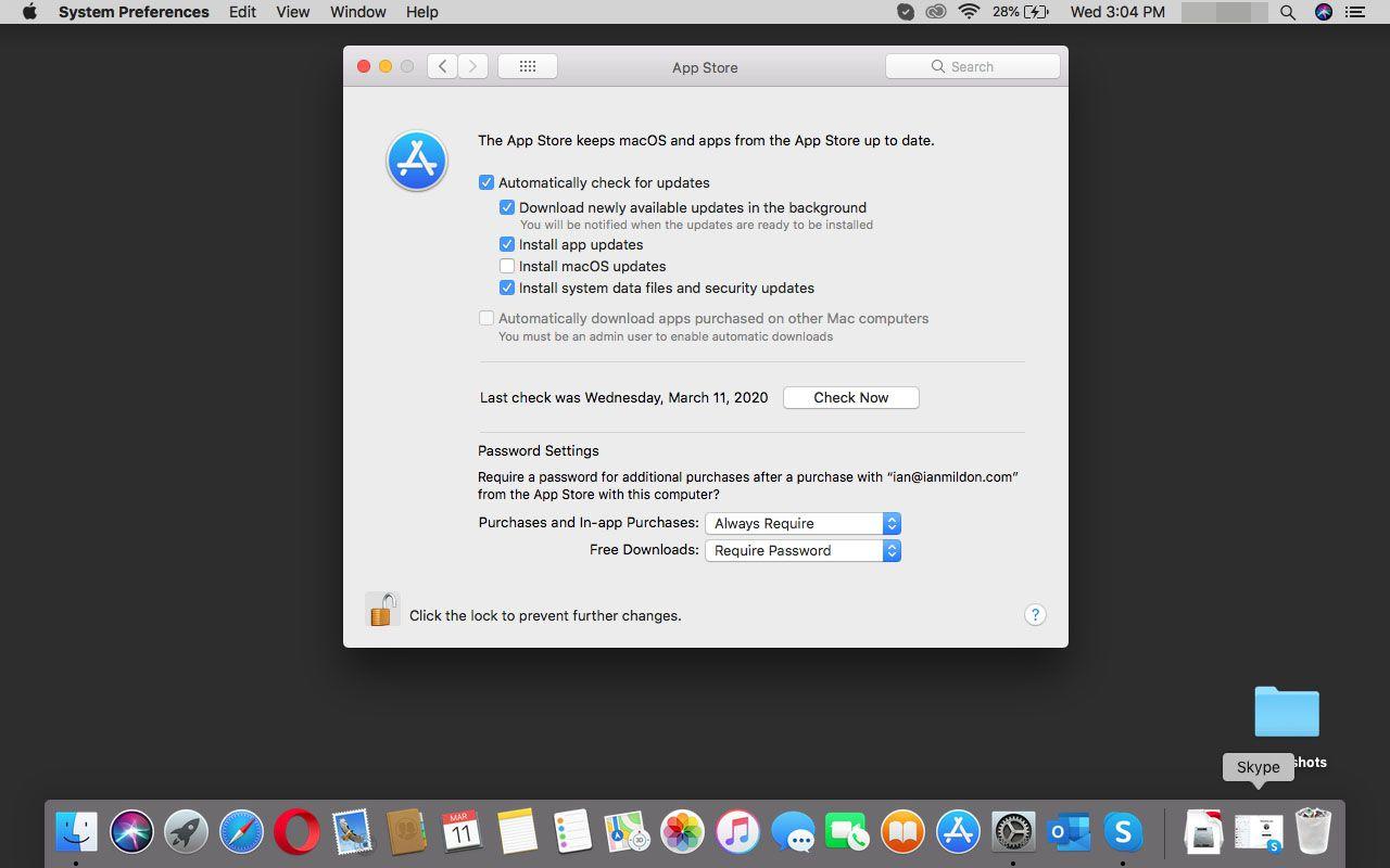 App Store settings in macOS.