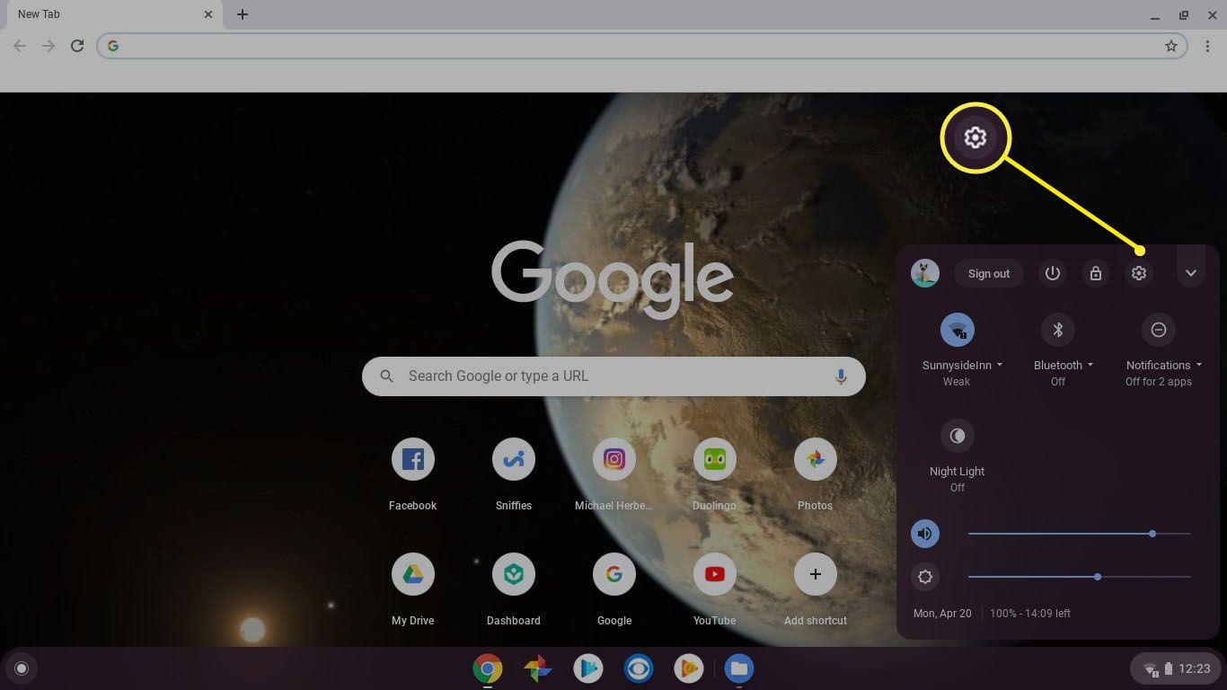 Log in to your Chromebook as the current owner and select the clock in the Chromebook shelf, then select the Settings gear.