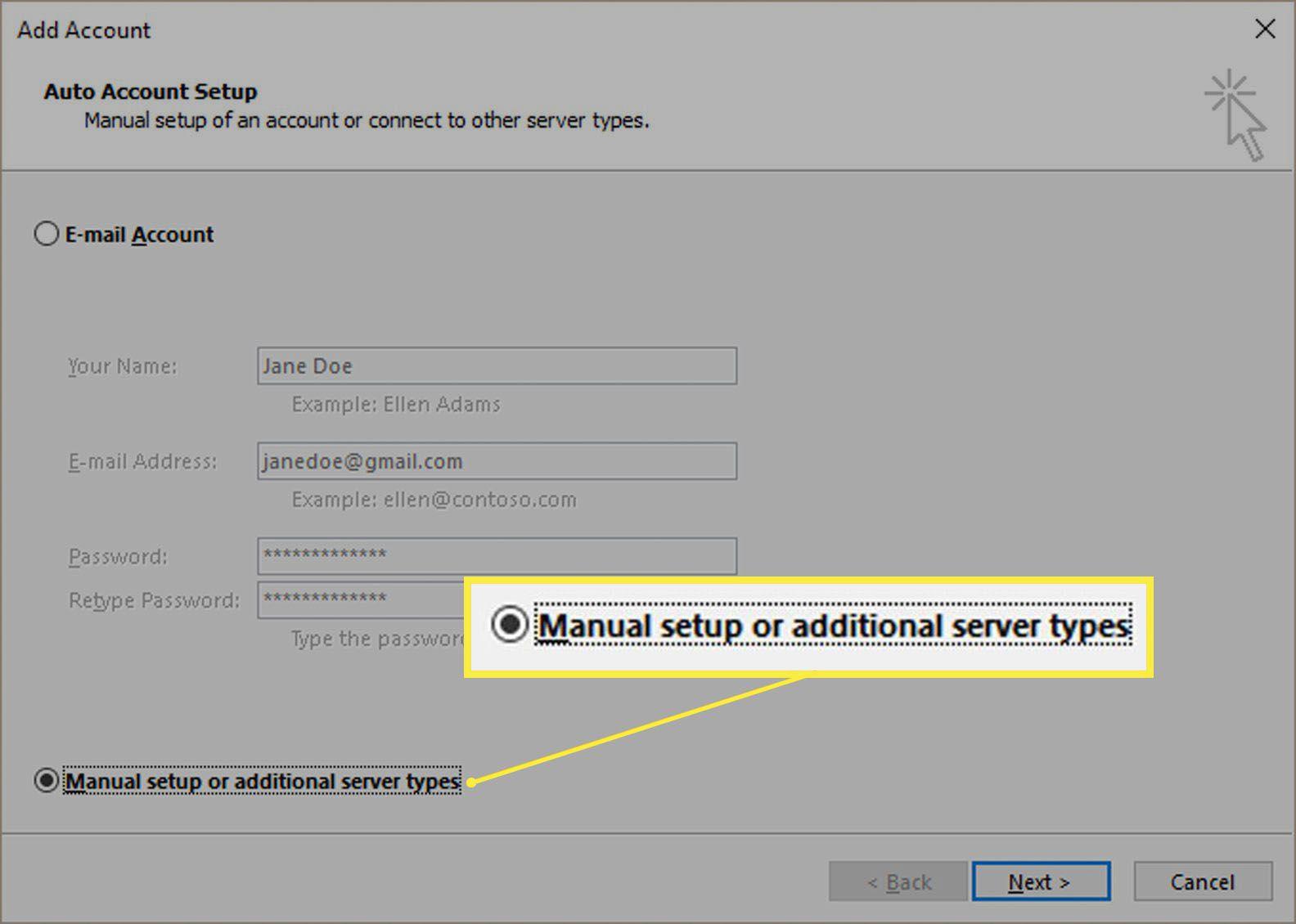 Manual setup of additional server types.