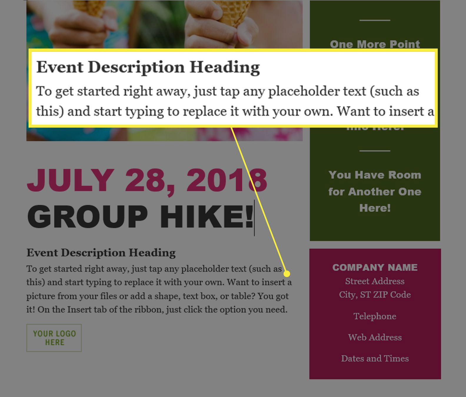 Changing text on a flyer template