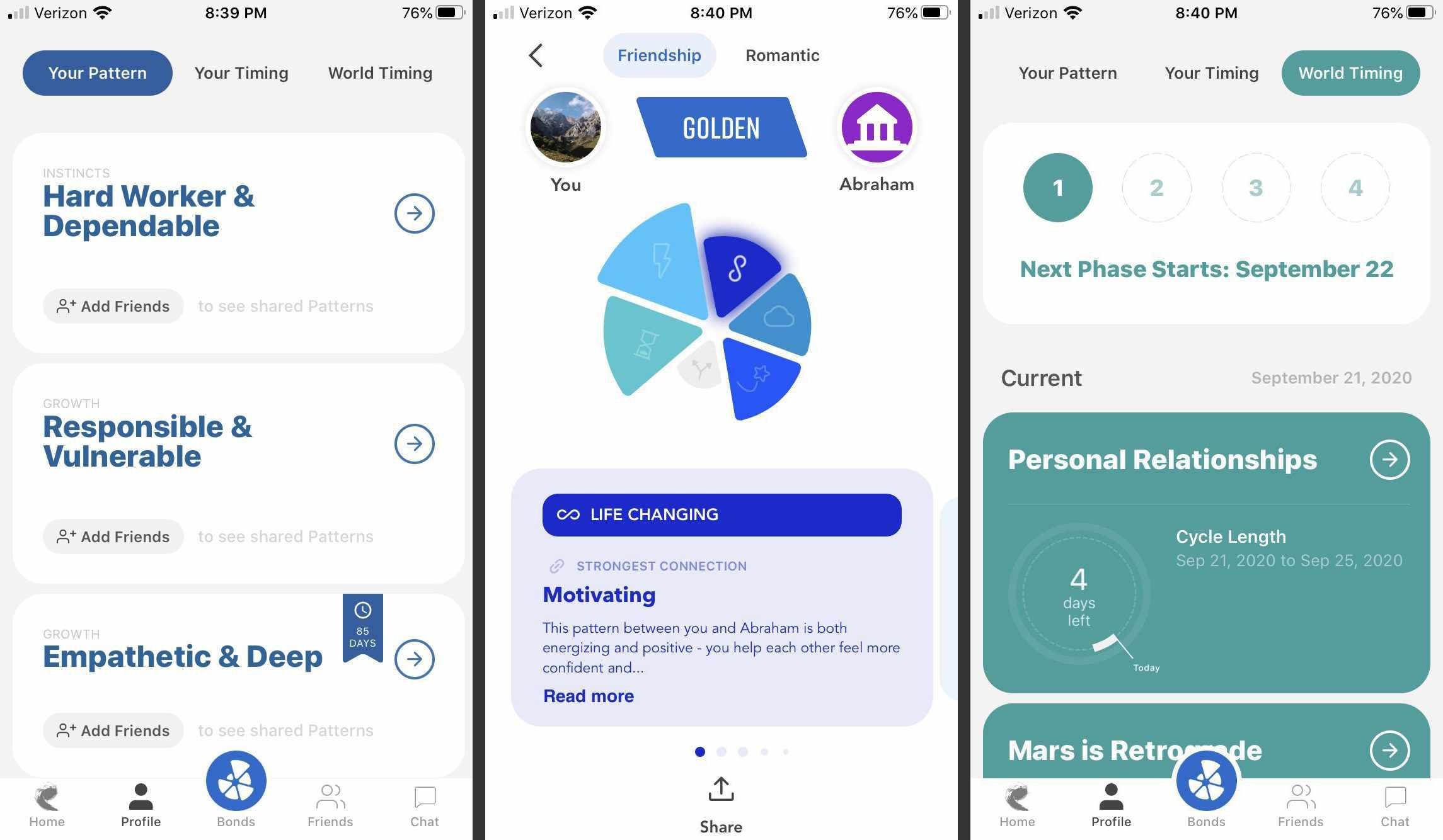 Screenshots of the Pattern app.