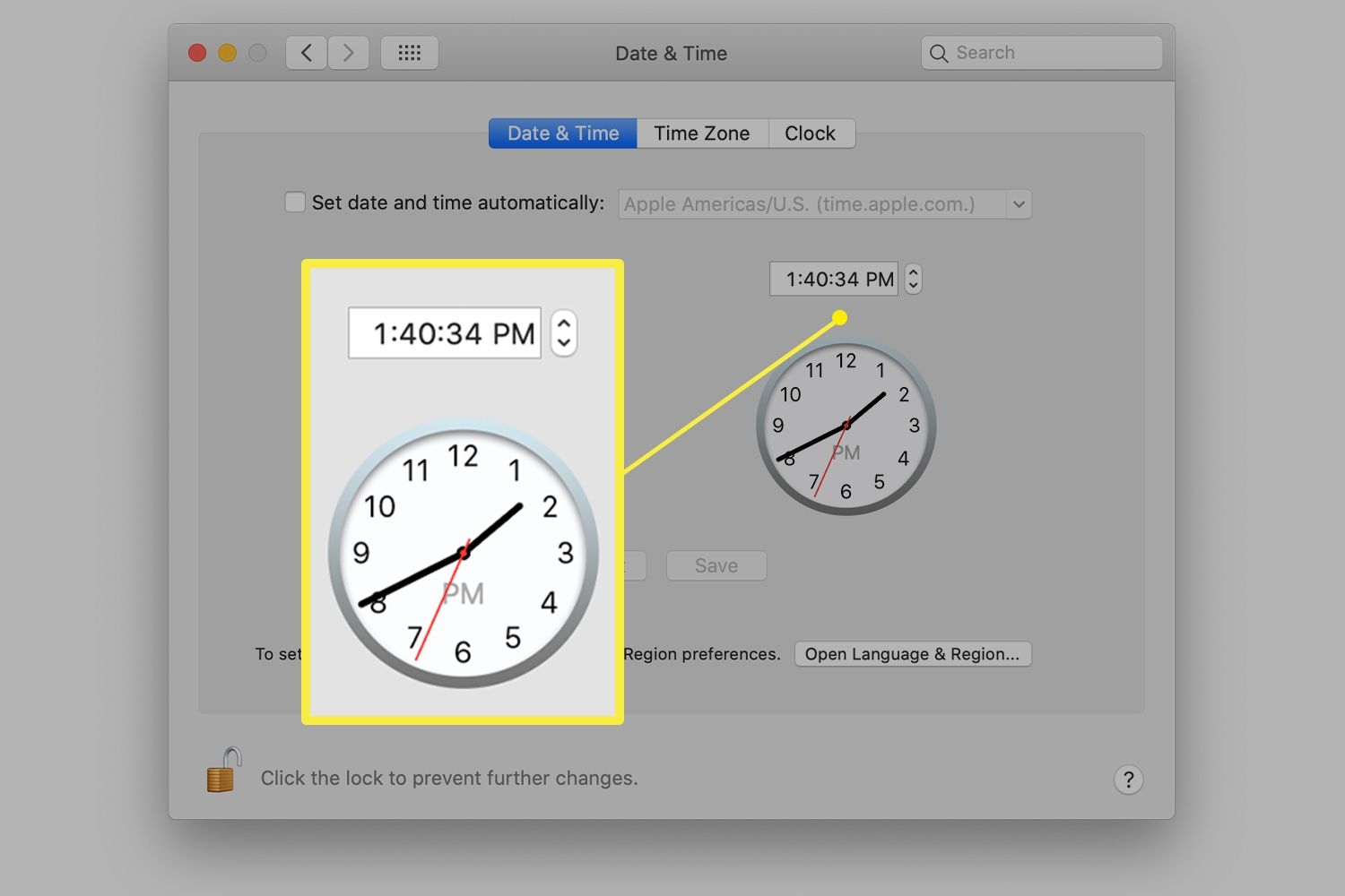 Mac Date & Time preferences showing digital and analog time
