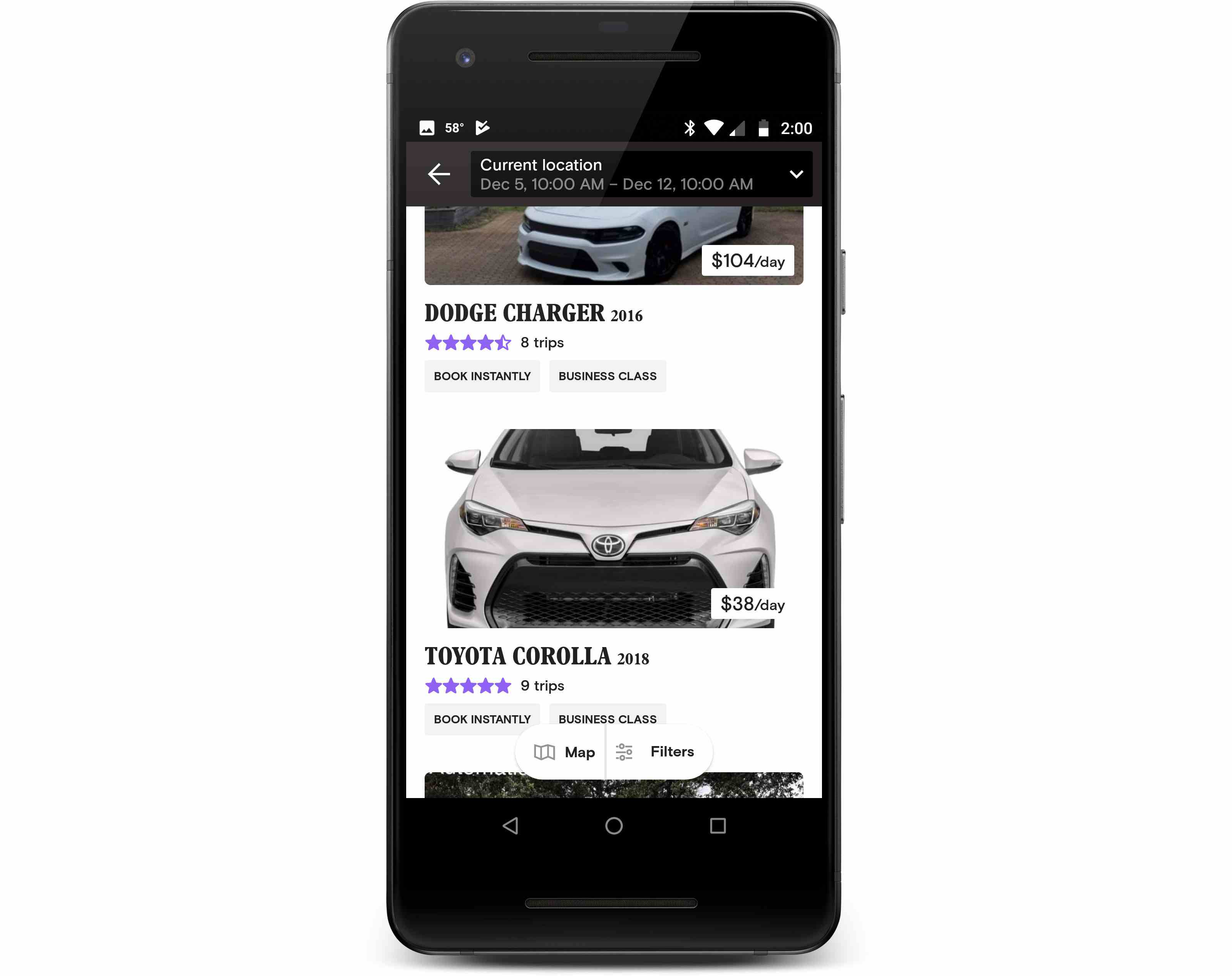 The Turo app displayed on a phone