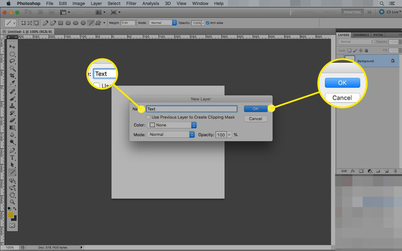 New Layer dialogue box in Photoshop with the OK button highlighted