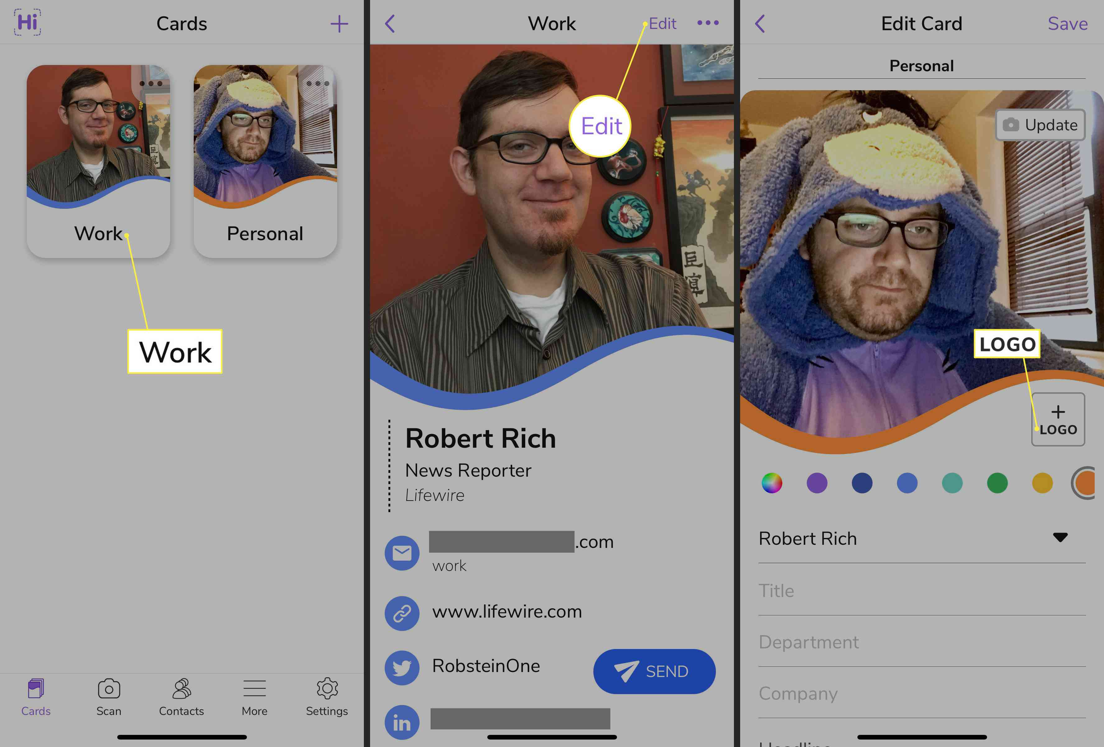 Work business card, Edit, and Logo highlighted in HiHello app for iOS