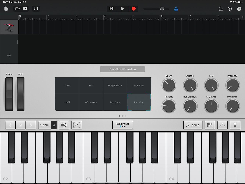 GarageBand for iPad piano keyboard for iPadOS 13