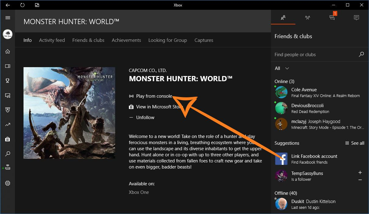 a screenshot showing how to launch xbox one games from the windows app