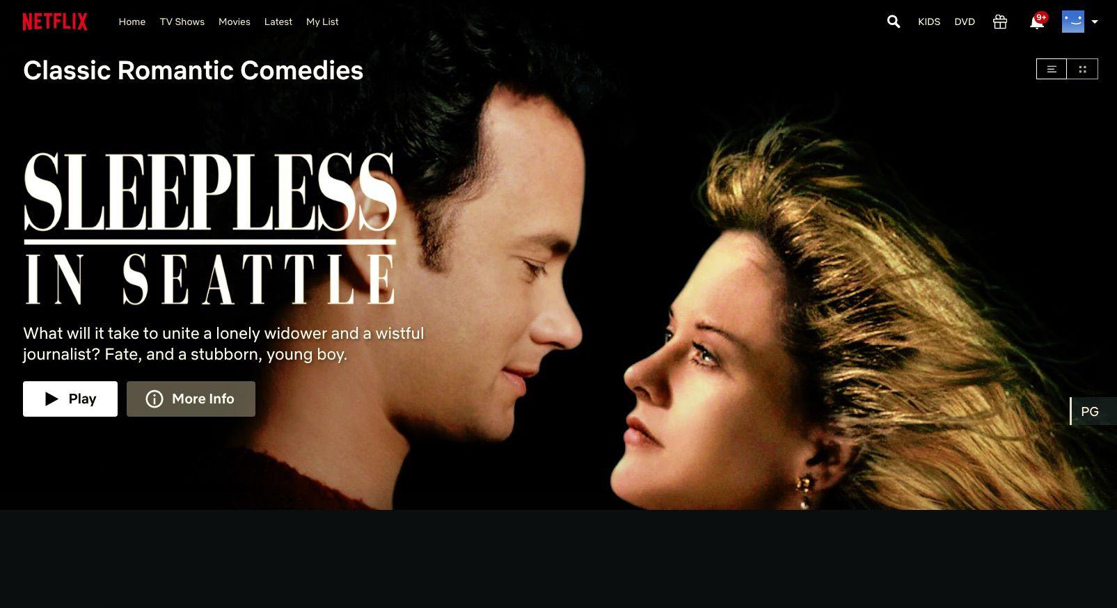 Sleepless in Seattle found through Netflix hidden codes for romances