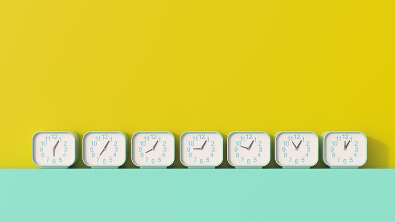 Alarm clocks in a row