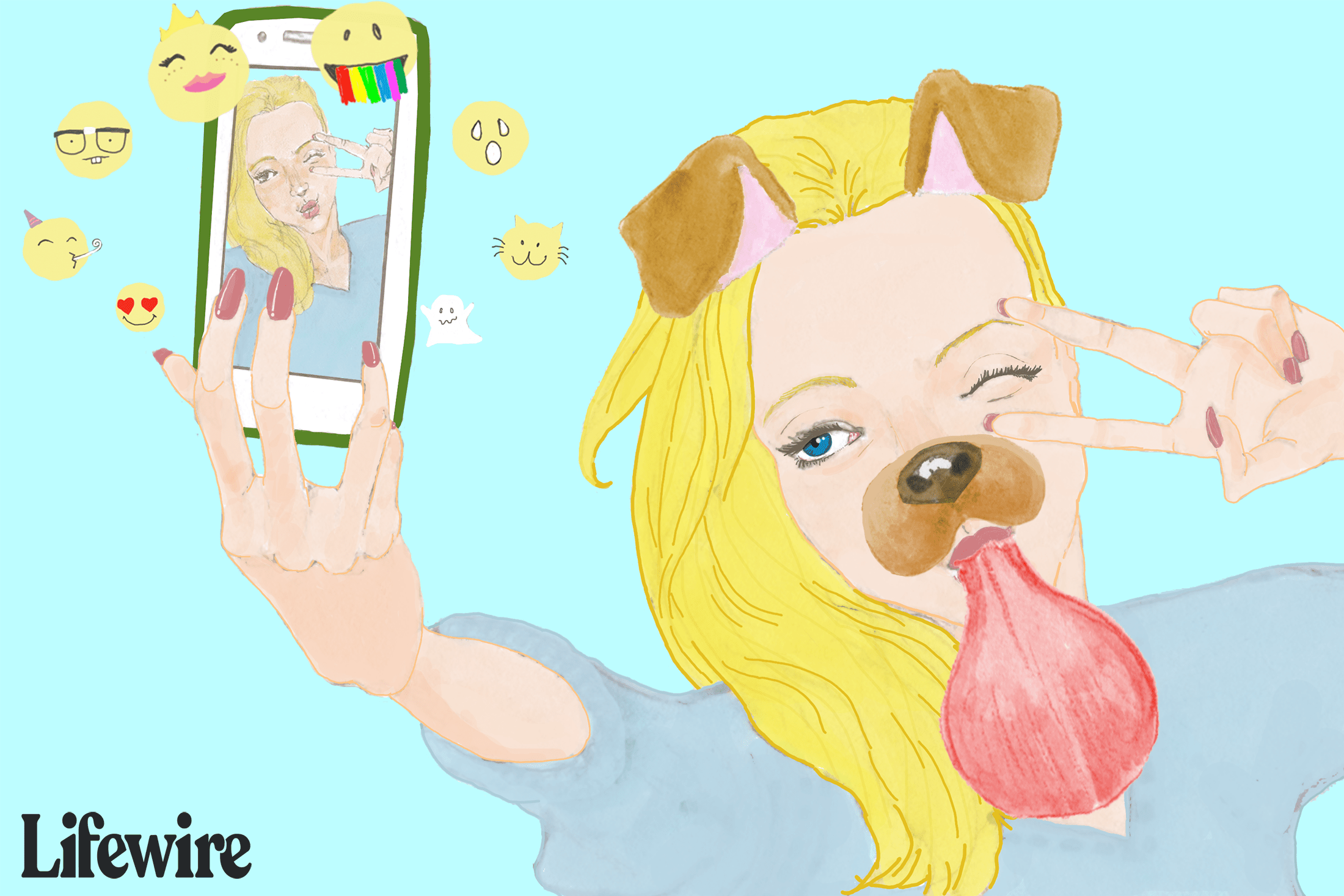A woman using a funny Snapchat filter
