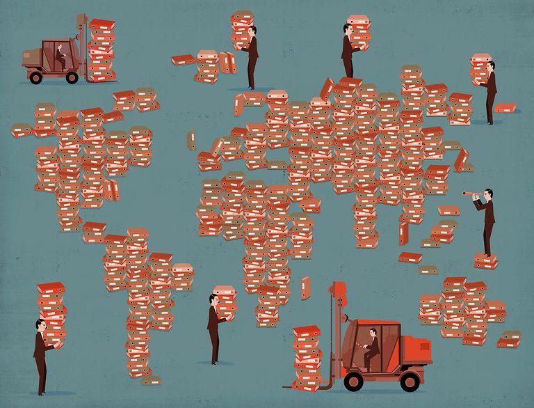 People moving data storage files around world map
