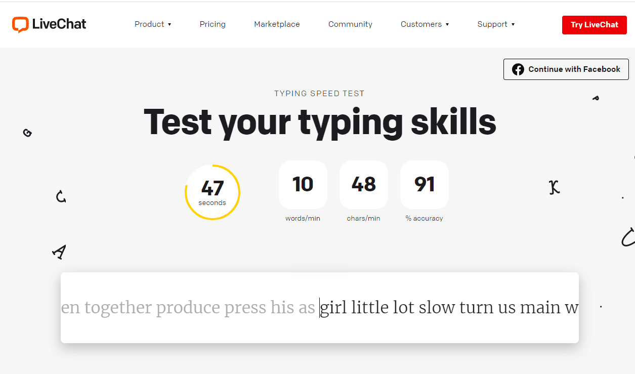 Screenshot of the LiveChat typing speed test
