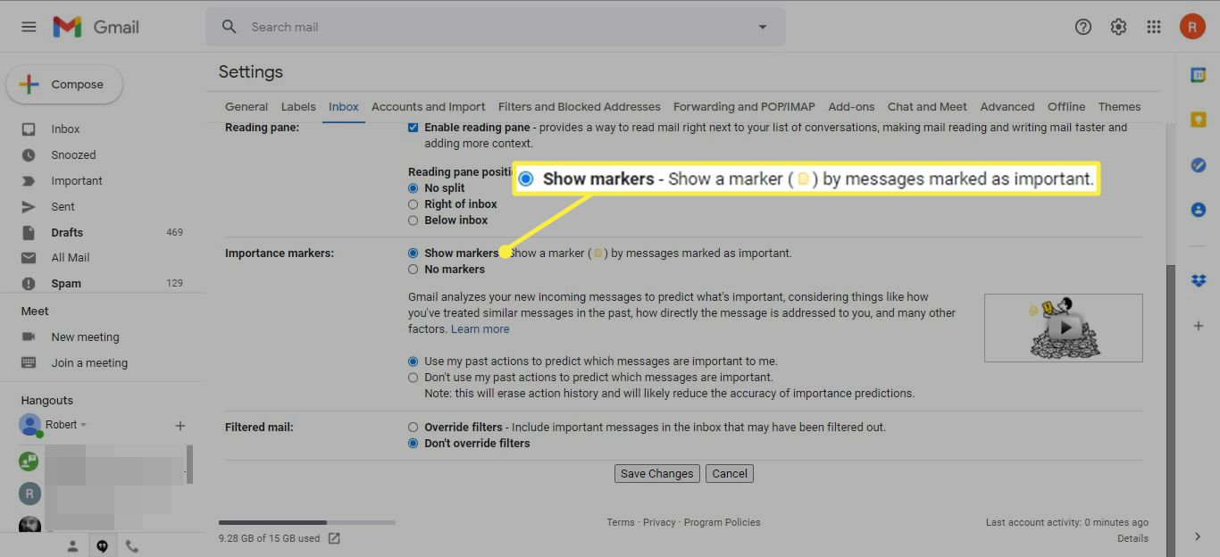 Show markers in the Importance markers section of Gmail