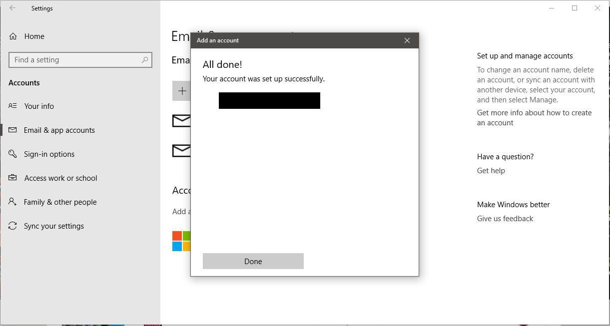 A screenshot of the Windows 10 Add an account confirmation message.