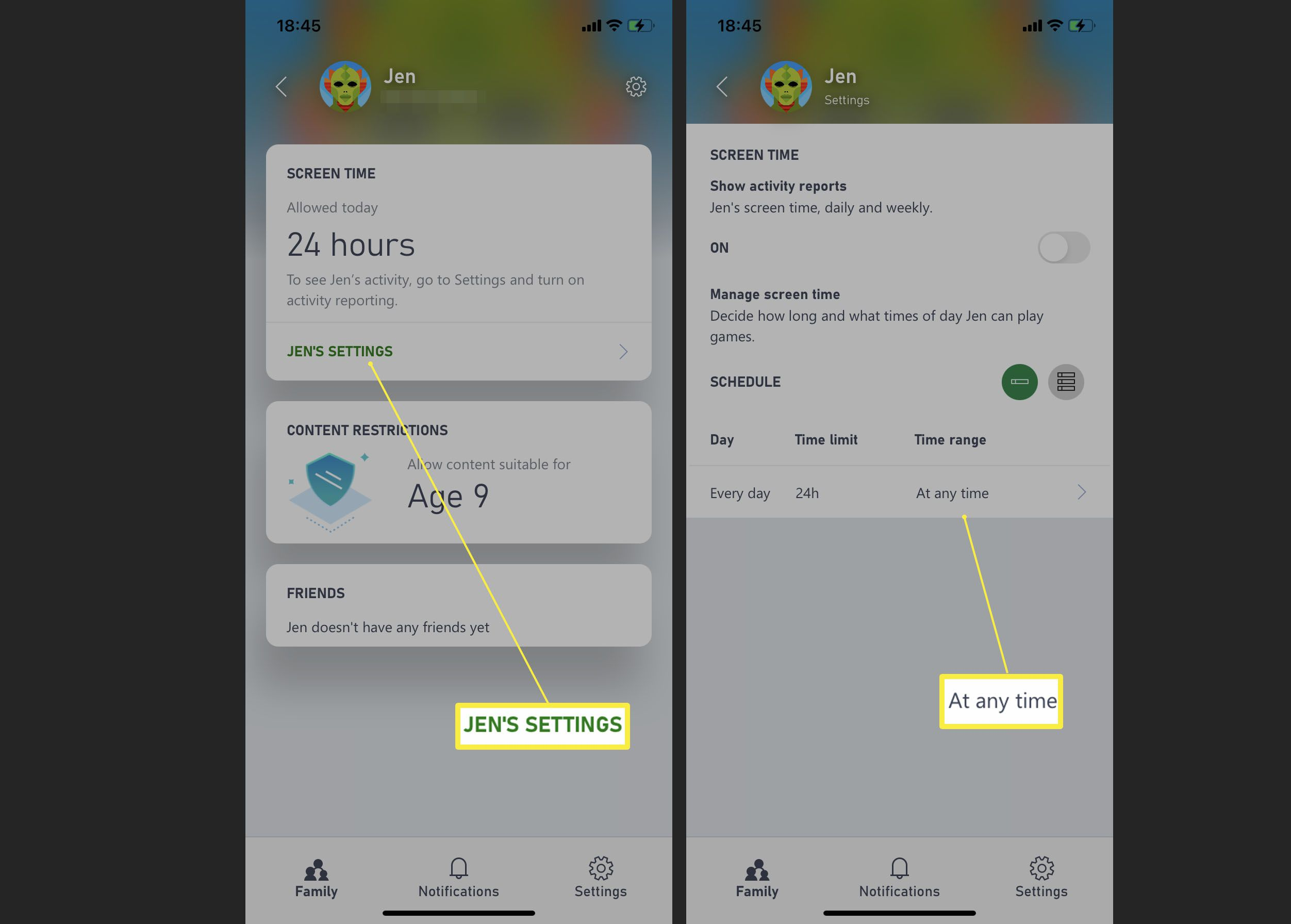 Adjusting screen time settings within the Xbox Family Settings app