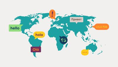 World map with different languages