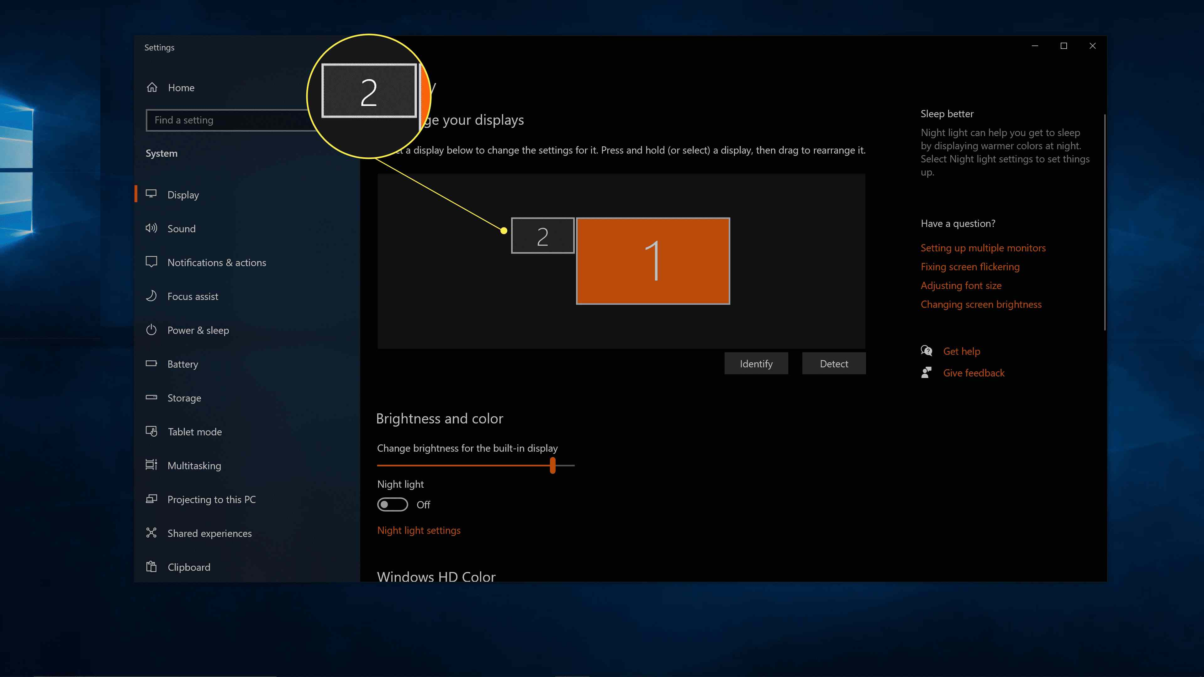 The number 2 display highlighted in the Windows display settings.
