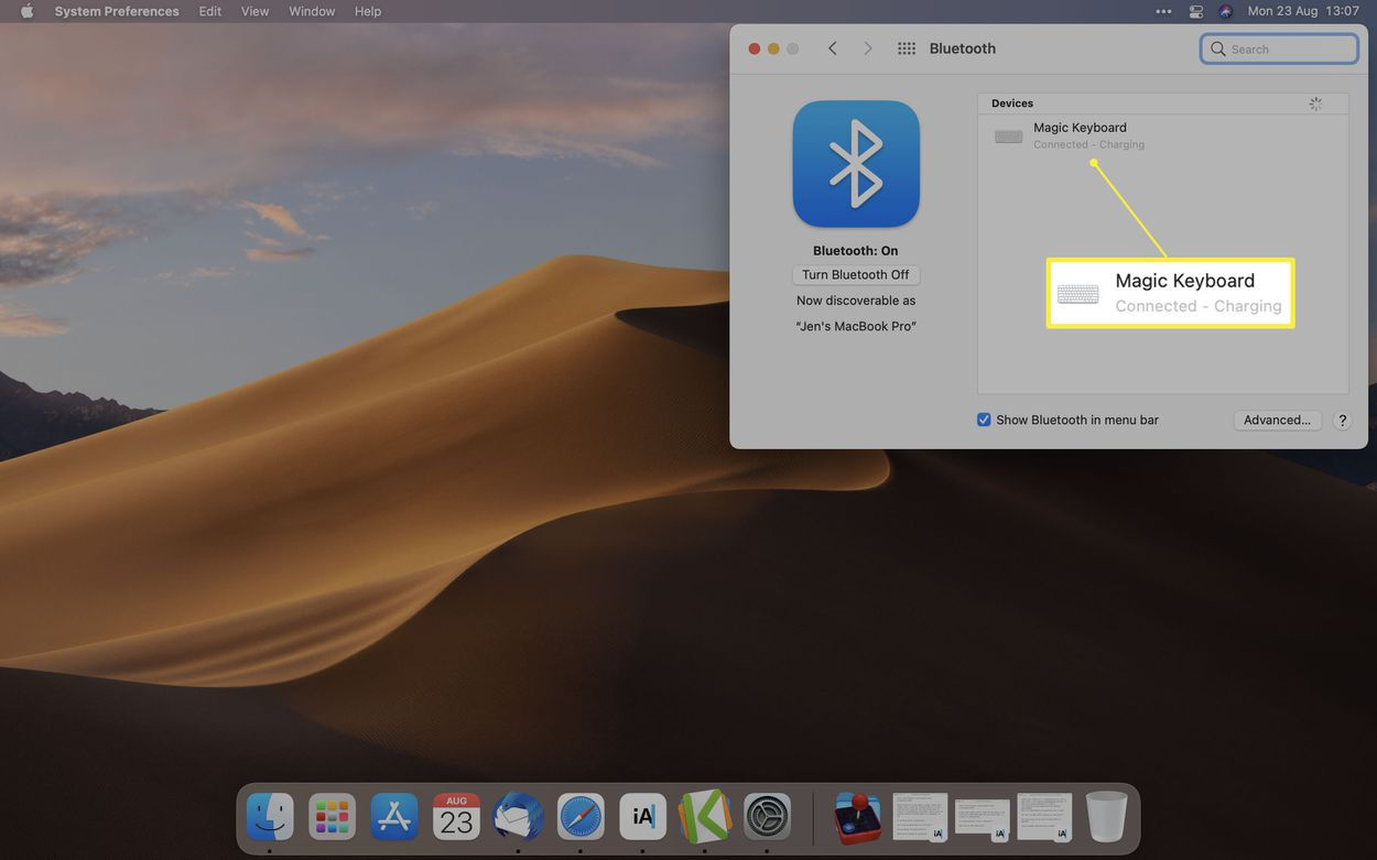 macOS System Preferences Bluetooth menu with Magic Keyboard paired and highlighted