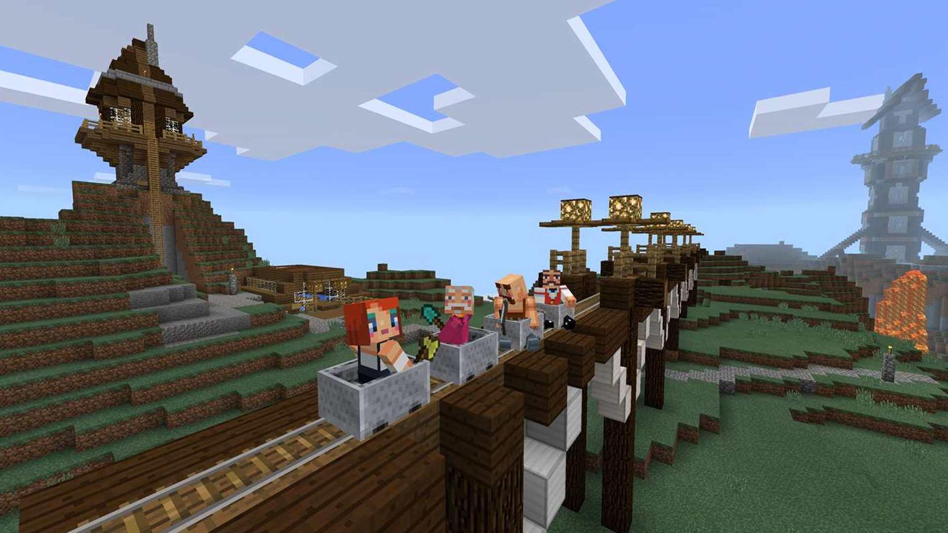 Minecraft online gameplay with kids.