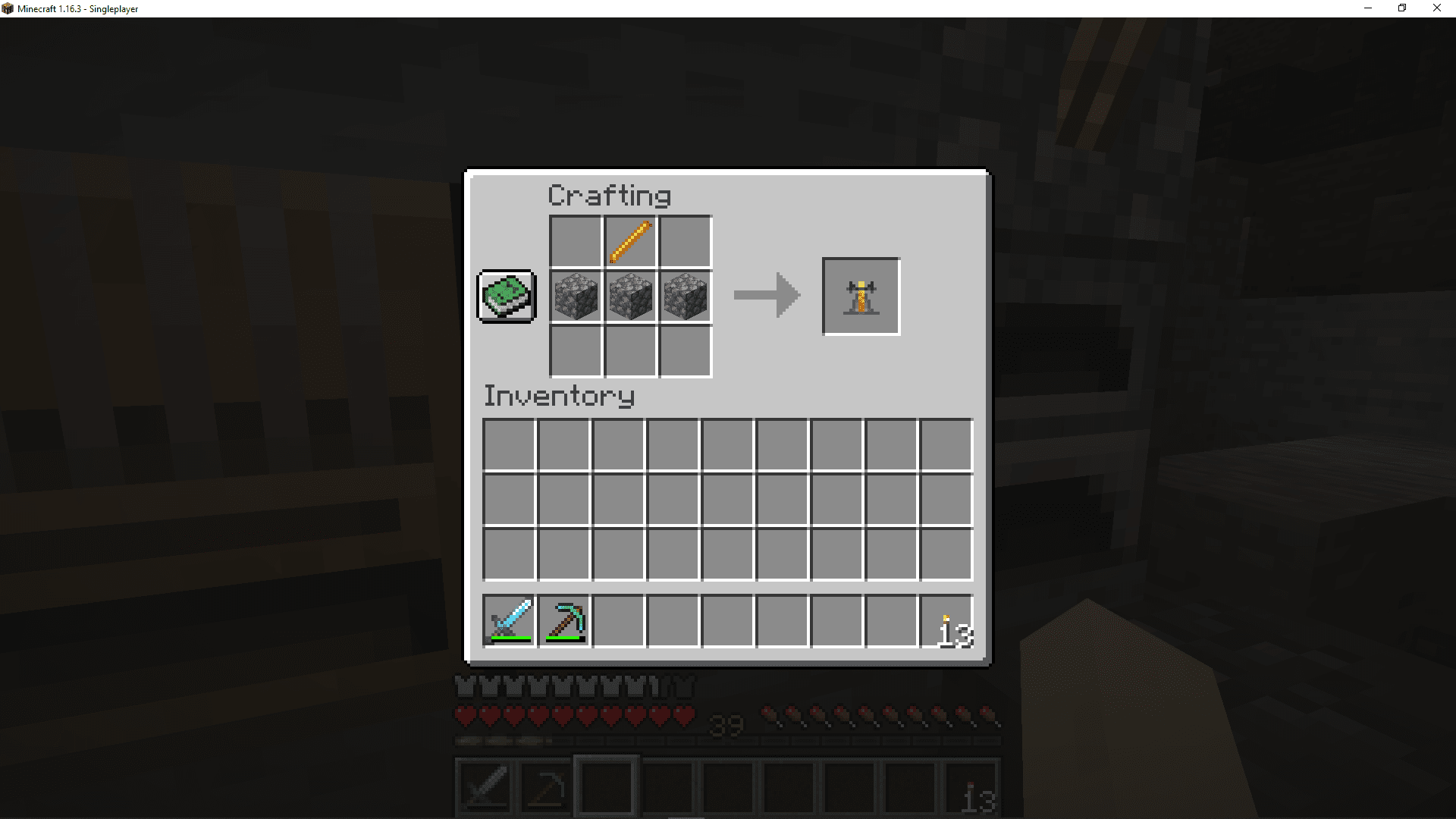 The brewing stand recipe in Minecraft.
