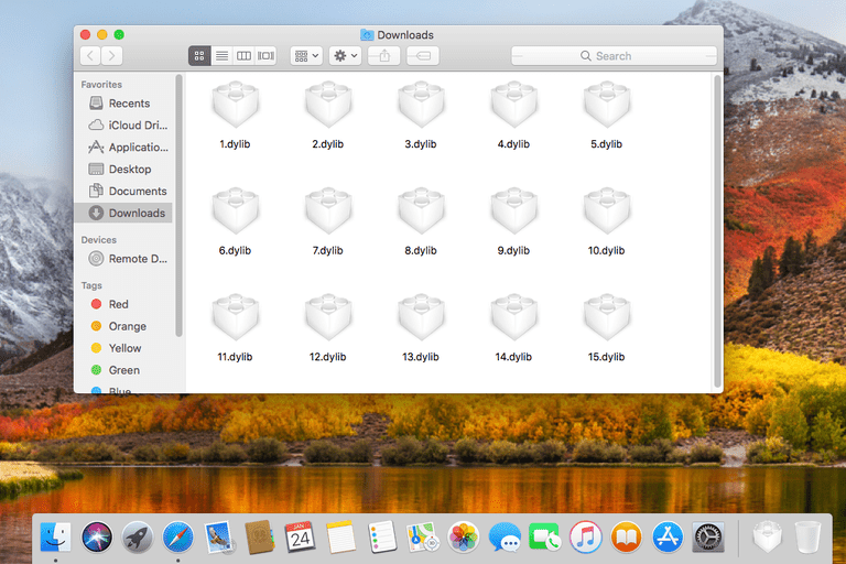Screenshot of several DYLIB files in macOS High Sierra