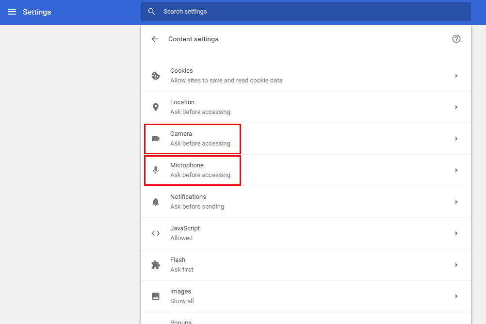 How to allow or block camera and mic access in chrome chrome camera and mic settings ccuart Images