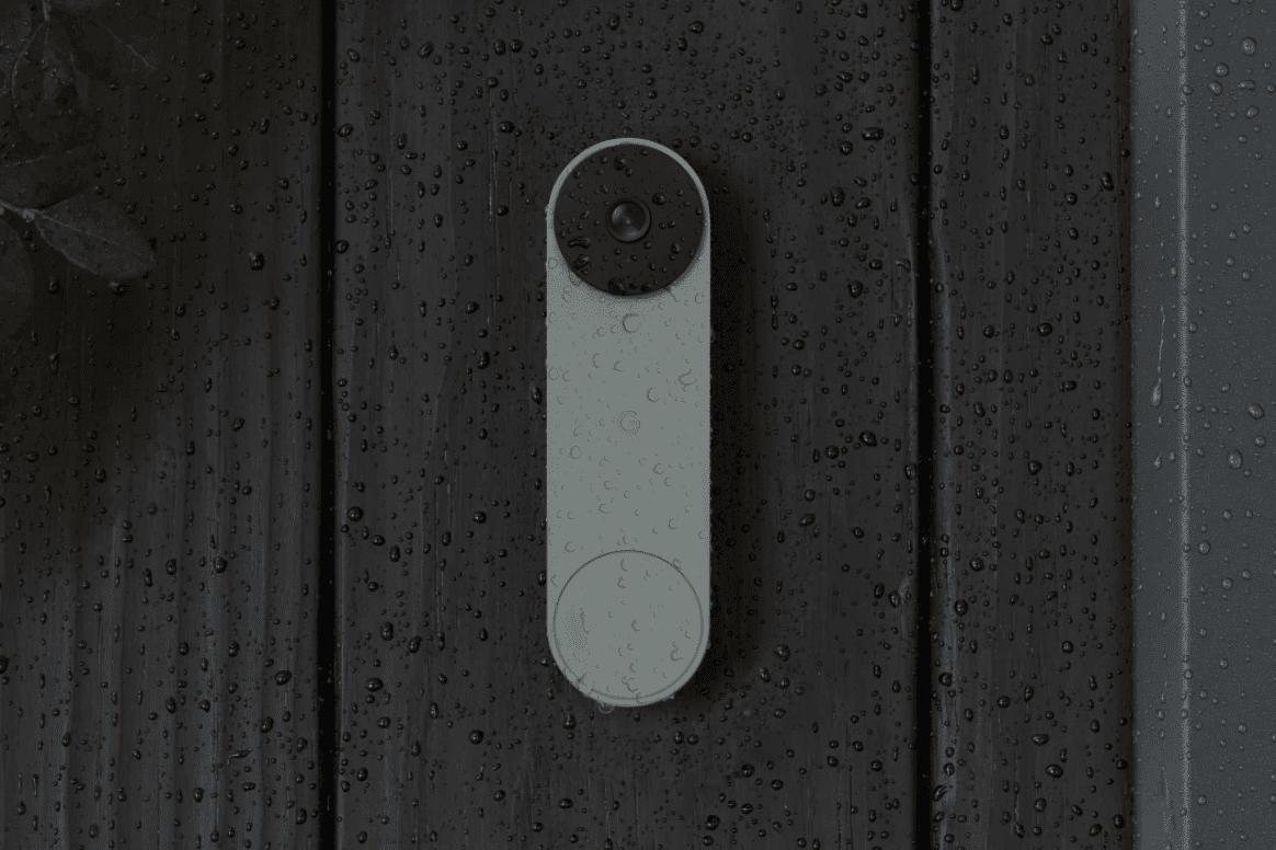 Nest Doorbell covered in rain
