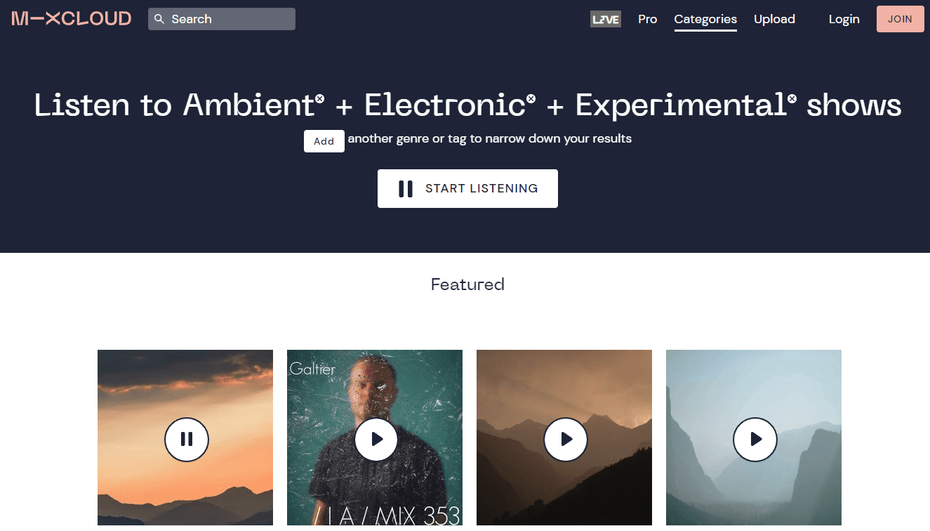 Mixcloud ambient electronic experimental shows