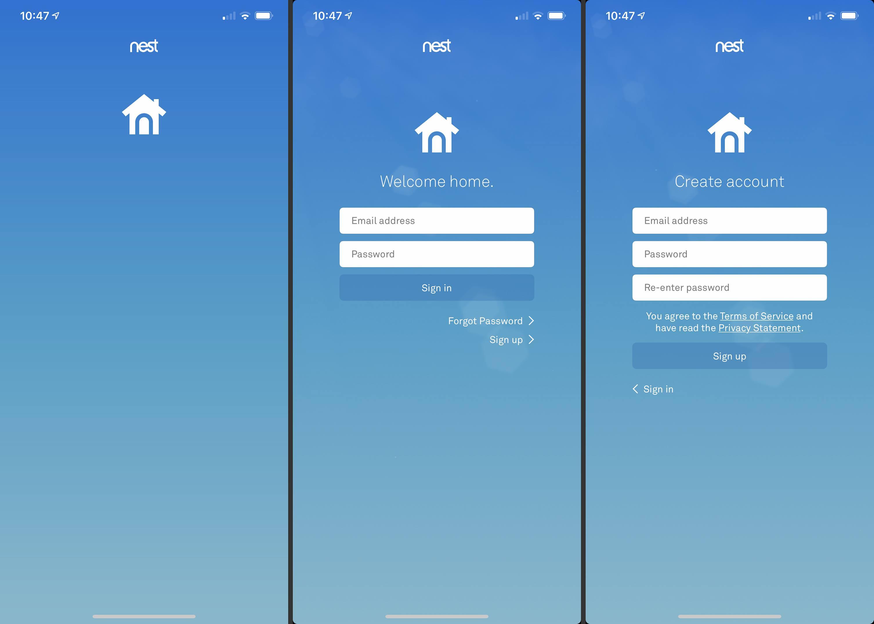 Three screens from Nest app on iOS