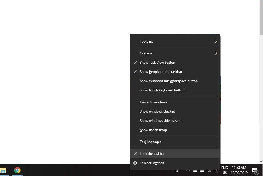 Lock the taskbar in menu
