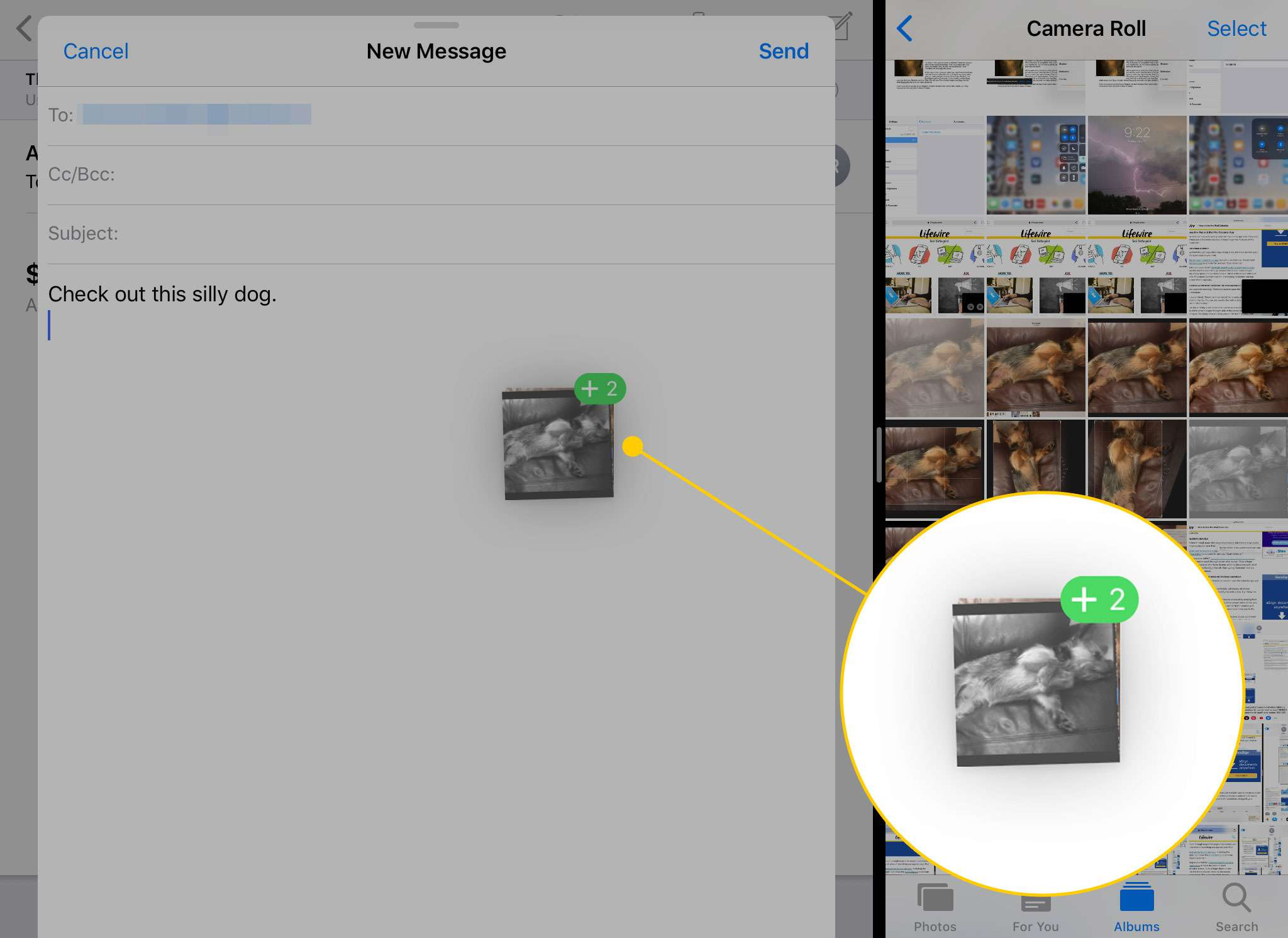 Mail and Photos open in Split View on an iPad with a stack of images moving to a new email