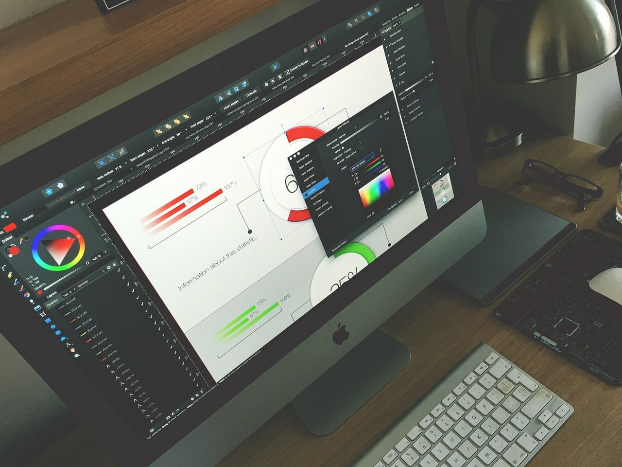Graphic design software on a desktop computer