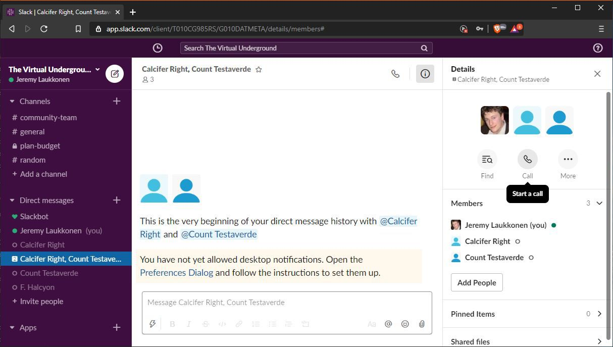 A screenshot showing how to initiate a group call in Slack.