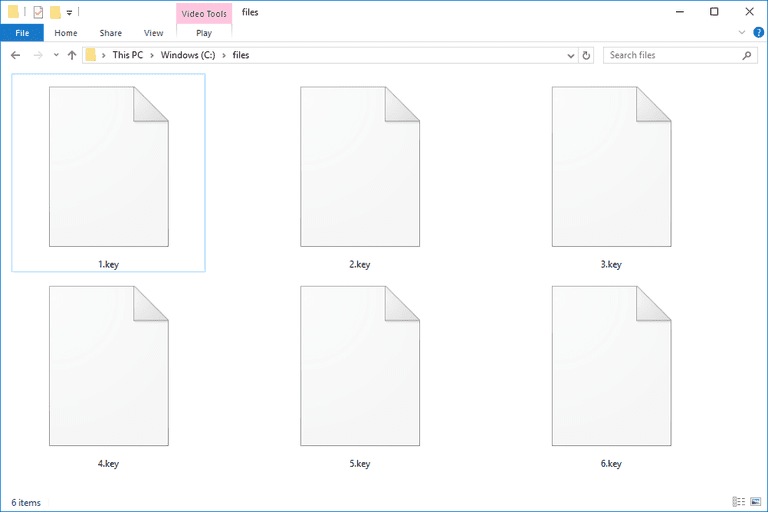 Screenshot of KEY files in Windows 10