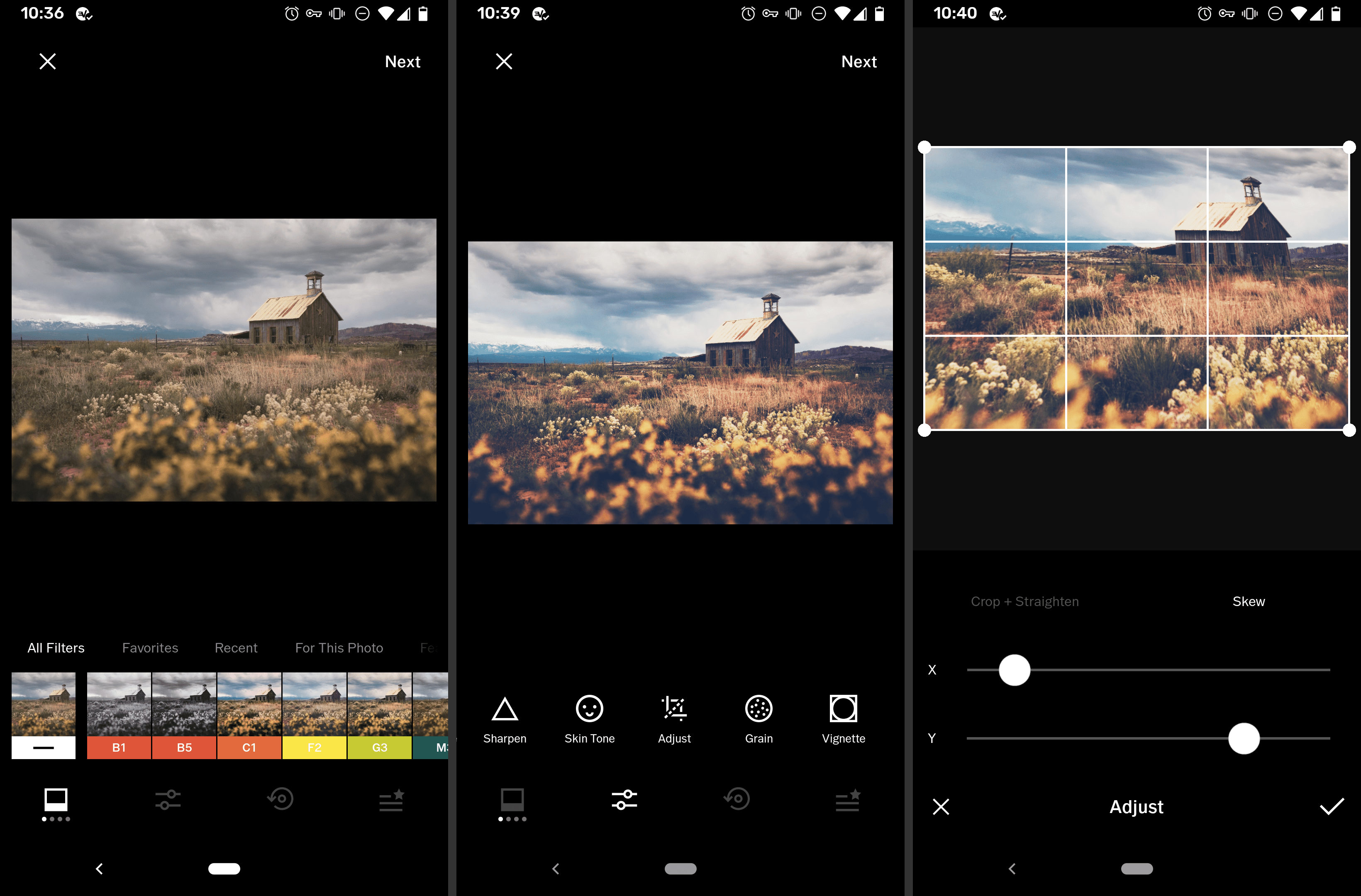 Screenshots of the VSCO free Android image editor app
